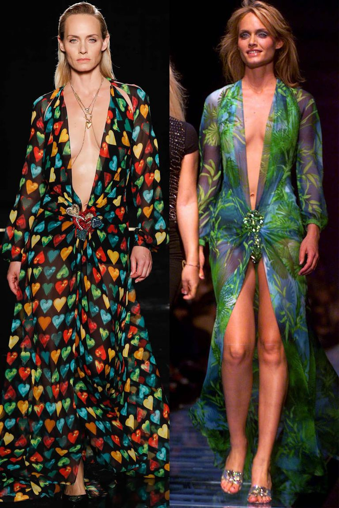 Versace воссоздали два культовых платья с красной дорожки
