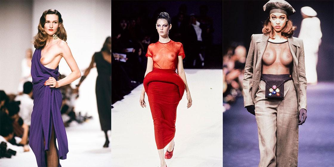Голые модели на подиумах Недели моды