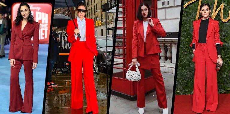 Красный деловой костюм: как носить его в 2019 году
