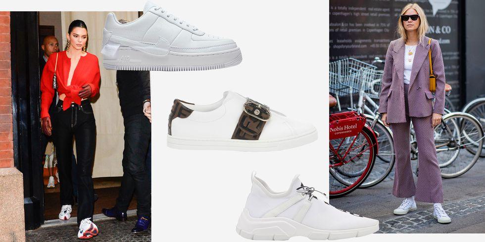 Белые кроссовки: модные образы в главной обуви лета