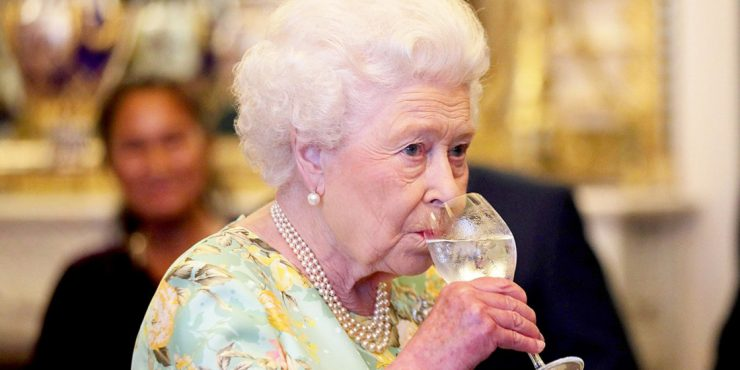Why does Queen Elizabeth never drink wine?