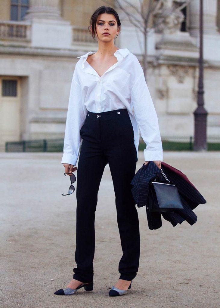 Белая рубашка и черные брюки