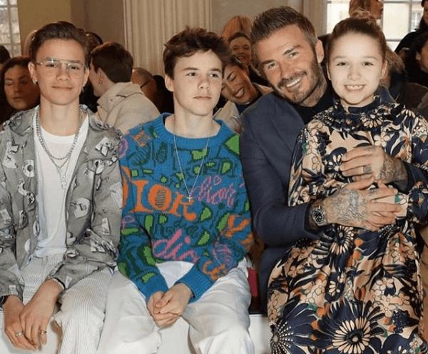 Дэвид Бекхэм с детьми на показе Виктории Бекхэм