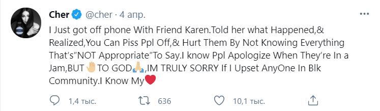 За что Шер заставили извиниться подписчики?