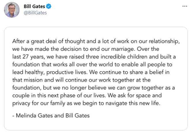 Самый дорогой развод: Билл Гейтс расторгает брак с супругой